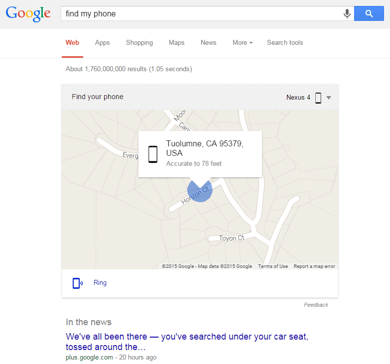 Find Your Lost Phone By Googling It